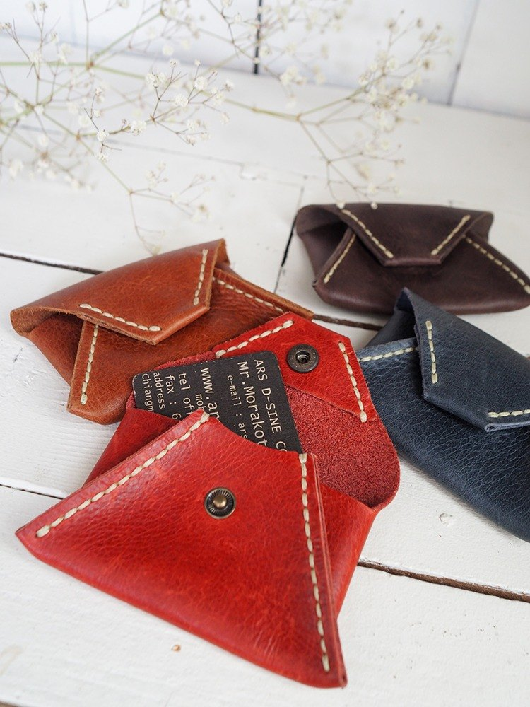 Envelope shaped leather card case