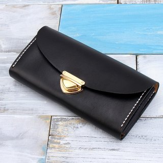 [Cut line] leather handmade organ wallet / large capacity retro long folder 006 hand stained black