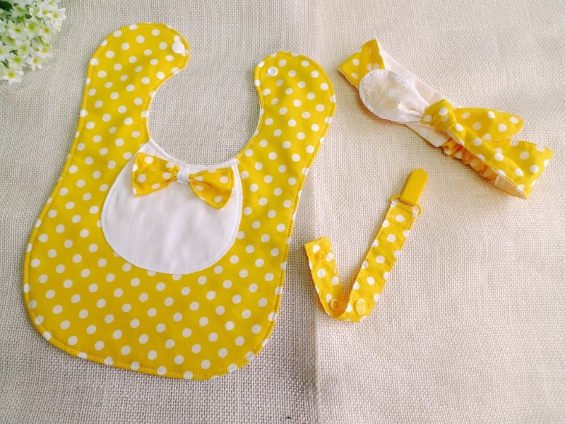 Dots baby full moon ceremony / ritual births - bibs towel + headband + Pacifier chain
