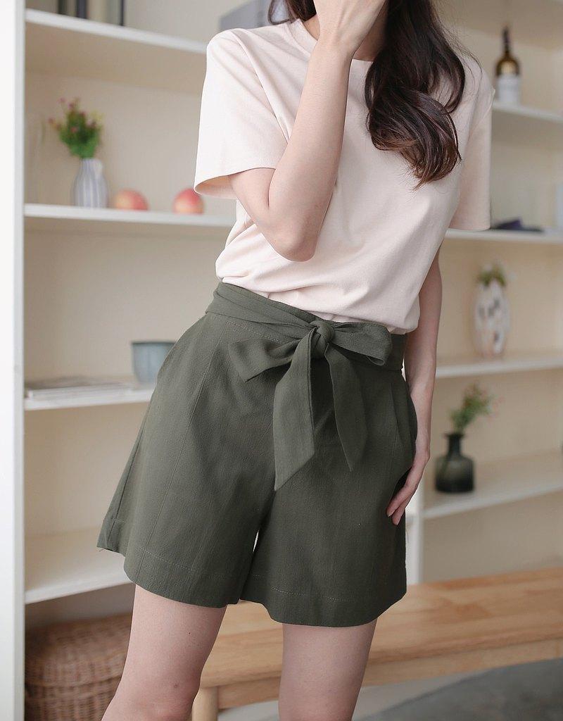 三色堇短褲-橄欖色