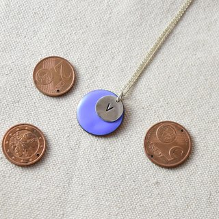 Euro copper coin / letter silver necklace / V