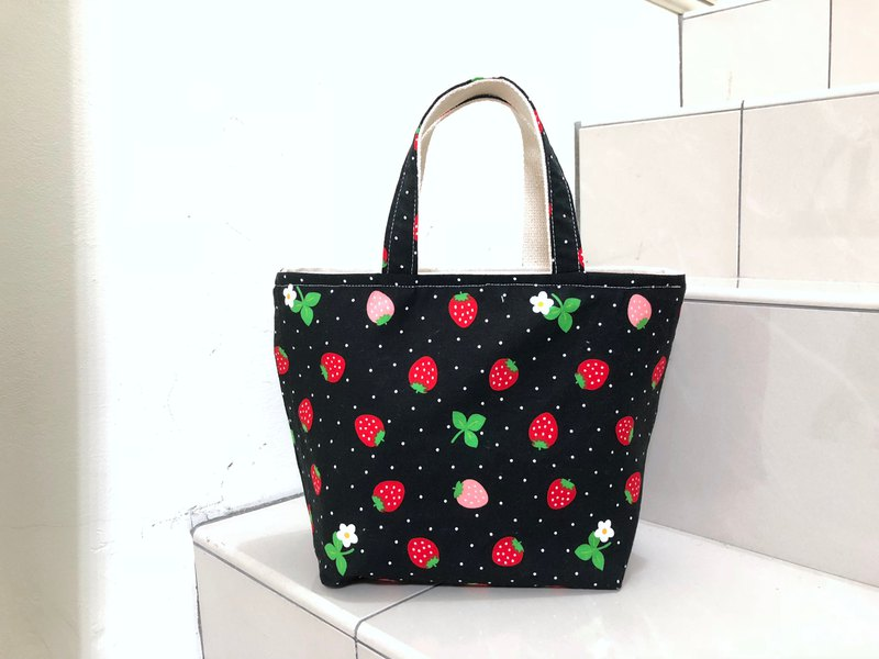 Strawberry. Black / Handbag. Small Tote bag. Double cup drink bag. Lunch bag. Eco bag