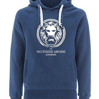 NO FIXED ABODE Hoodie Lion Front  - Blue Unisex