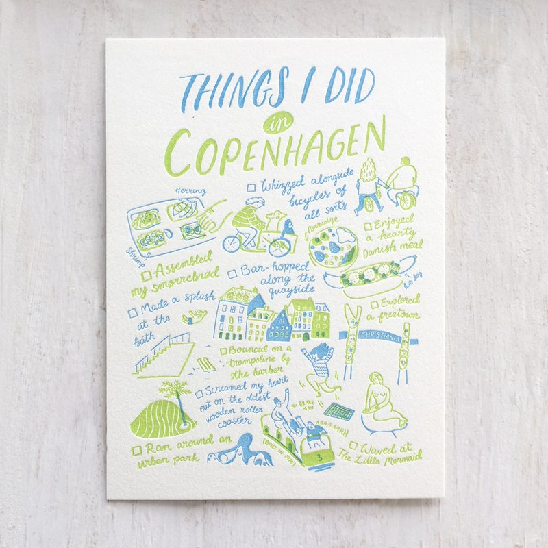 Things I Did in Copenhagen Letterpress Postcard