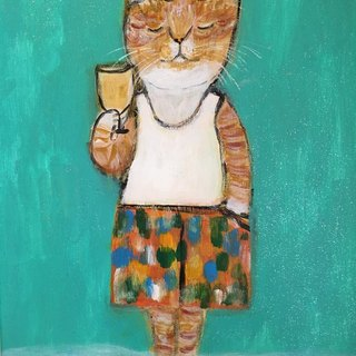 Relax with a glass of beer cat original painting