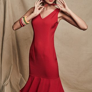 Sophia Sheath Dress with Layered Peplum Hem in Red
