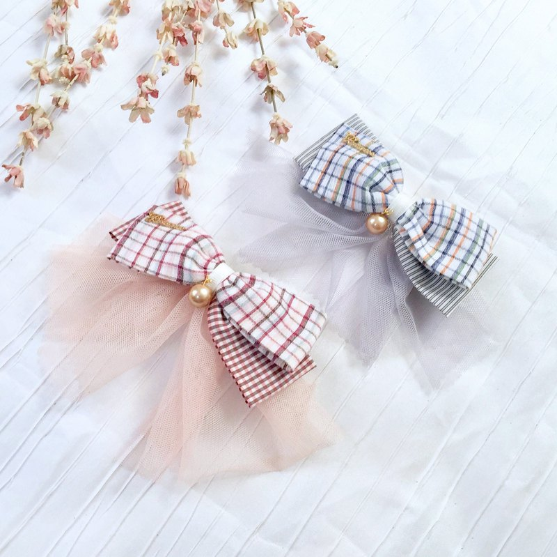 Temperament mesh plaid striped cotton bow hairpin ~ French clip hair ring spring clip hair bundle ponytail clip