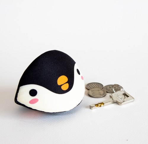 Penguin calm shell accessories case. Unique gift.