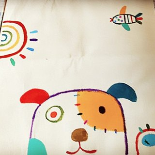 [Pure hand-painted] small bag | reusable shopping bag | canvas bag | dog | lovely wind