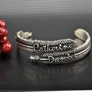 Customized .925 sterling silver jewelry FEB00002- feather bracelet (double feather)