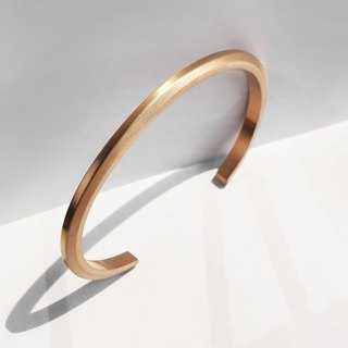 Thin Bevel Cuff Bracelet | Brushed Rose Gold