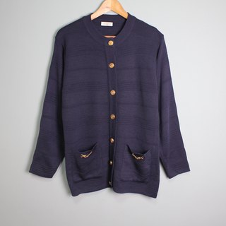 FOAK vintage navy blue buckle sweater coat