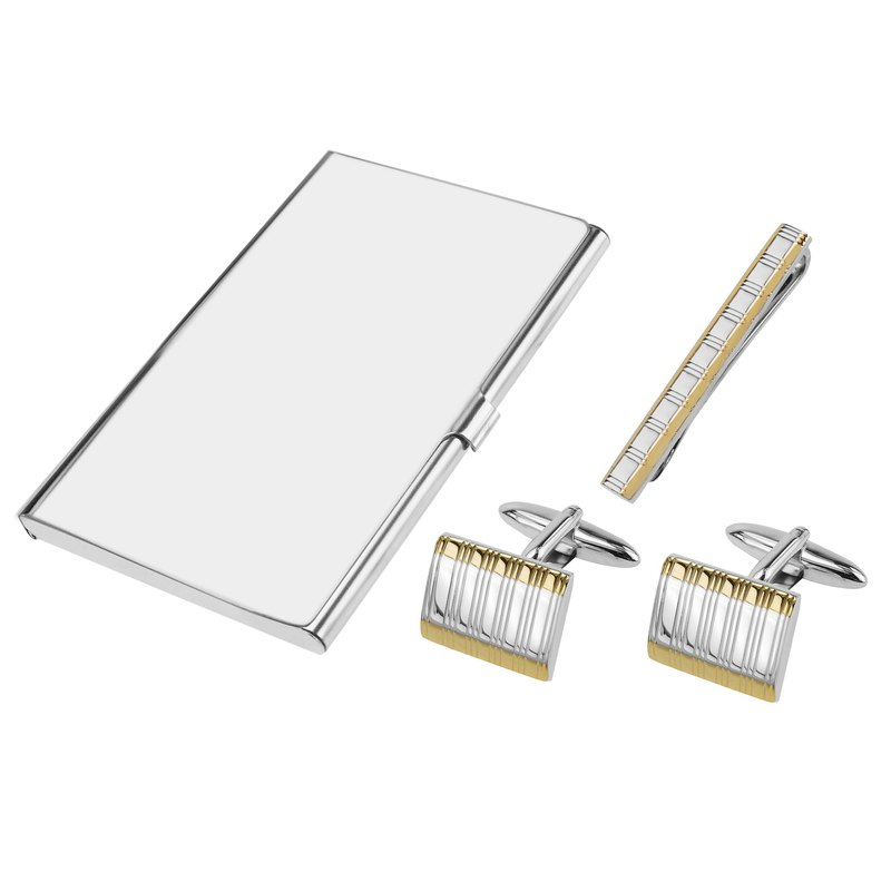 Two Tone Etched Stripes Cufflinks Tie Clip and Card Holder Set
