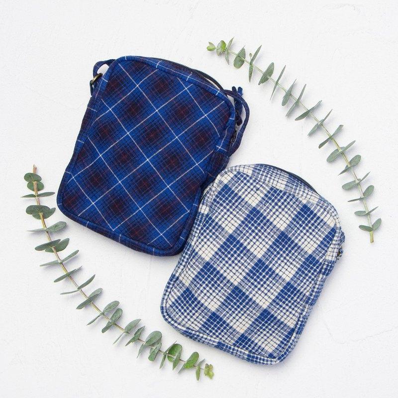 閨蜜款兩入優惠 限量手織古布 迷你隨身側背包 格子條紋 生日禮物