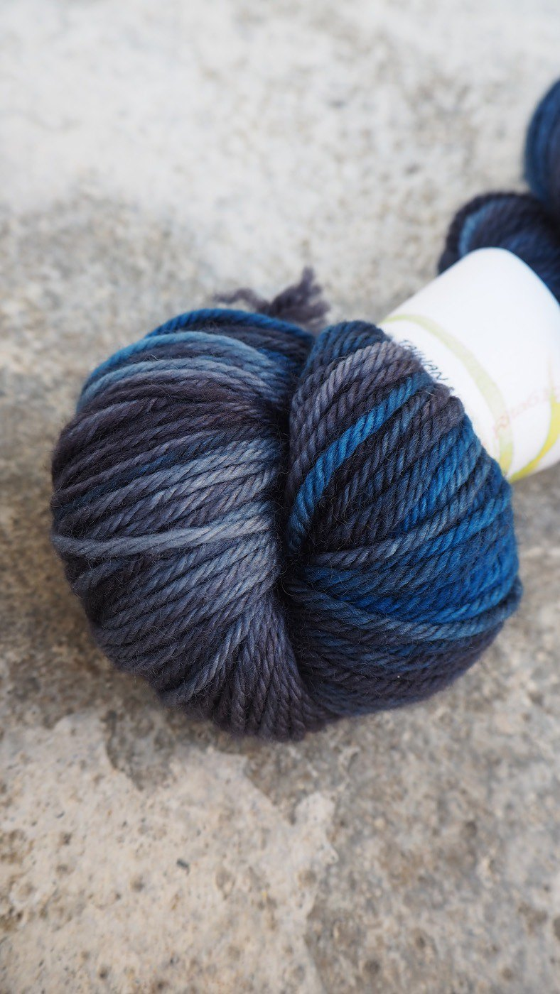 Hand dyed the line. Midnight Star (DK 100% Super Wash Merino)