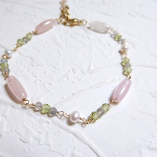 Bag 14K gold powder soft Morgan stone olivine bracelet
