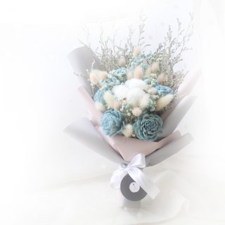 Elegant bouquet of French forest temperament, white cotton and blue starry dry flower ceremony