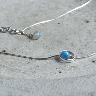 Star-rail apatite. Minimalist natural stone sterling silver clavicle chain phosphor lime limestone tail chain