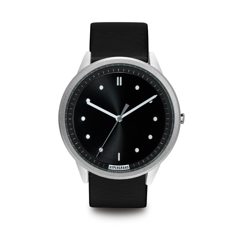 HYPERGRAND - 02 Basic Series - Silver Black Dial with Black Leather Watch