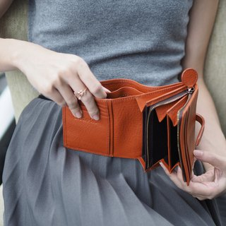 Charlotte: Mini wallet, Leather wallet, Mocha wallet,Brown wallet, folded wallet