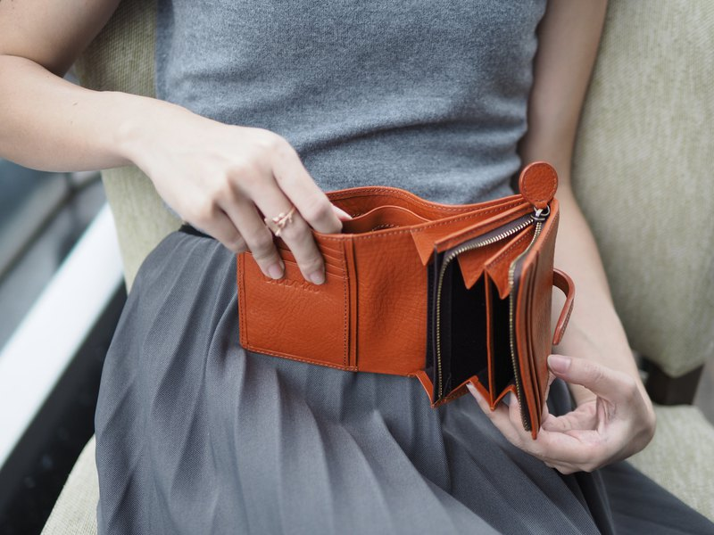 Charlotte (Mocha) : Mini wallet, Leather, Orange-brown wallet, folded wallet