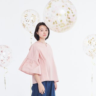 Elsa Ruffle-Sleeve Light Pink Top Pink