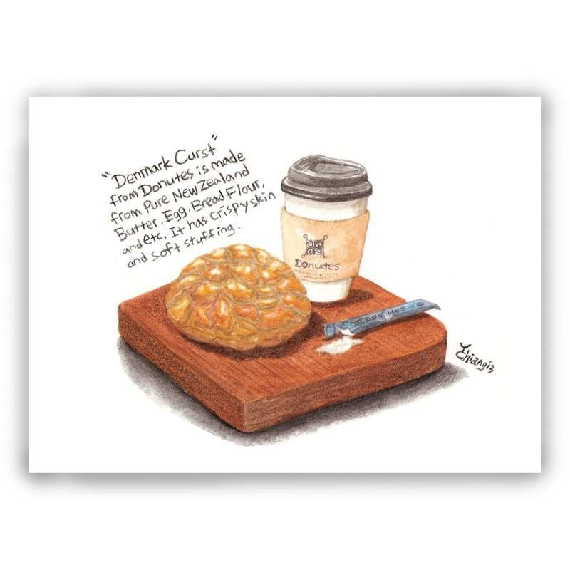 Hand-painted illustration universal card / card / postcard / illustration card - Polo bread pineapple bag coffee breakfast