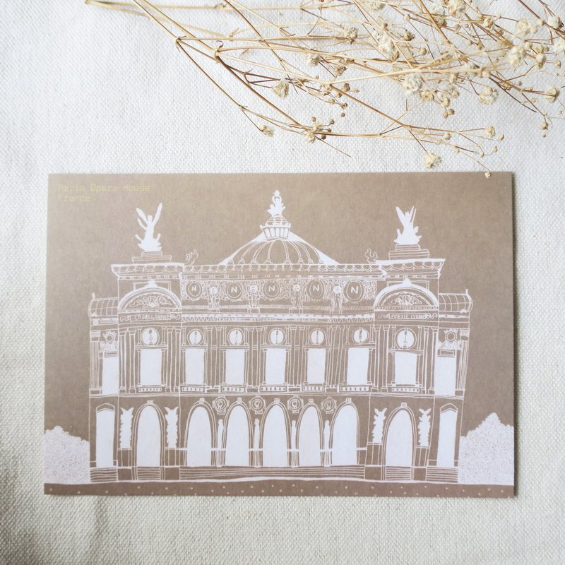 Travel scenery - France - Paris Opera / Illustrator postcards
