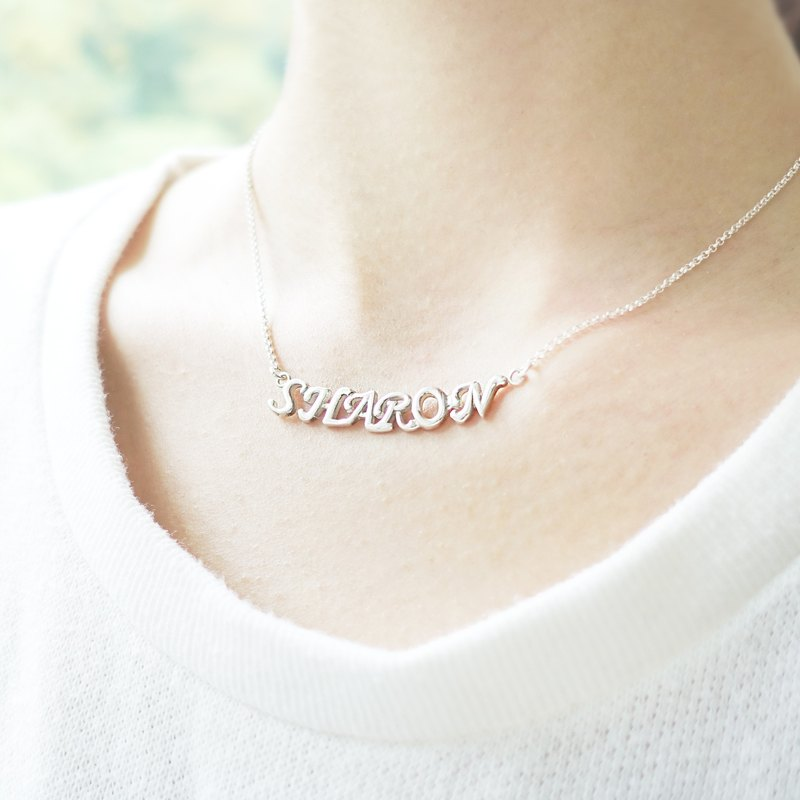 YOUR NAME - Tailormade 3D Initials Silver Necklace Chain Bracelet