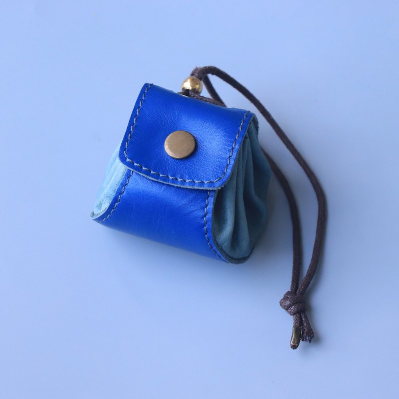 Xiao Long Bao - Leather Coin Purse / Small Bag / Jewelry Bag - Blue + Light Blue