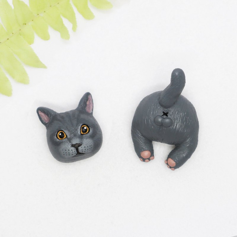 - Blue Cat Head / Butt - / Brooch / Safety Pin / Magnet / Hair Ring / Charm / Identification Card / Necklace