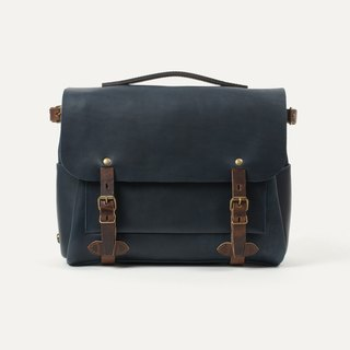 Bleu de Chauffe - Eclair M Leather Messenger Bag _Marine / Navy