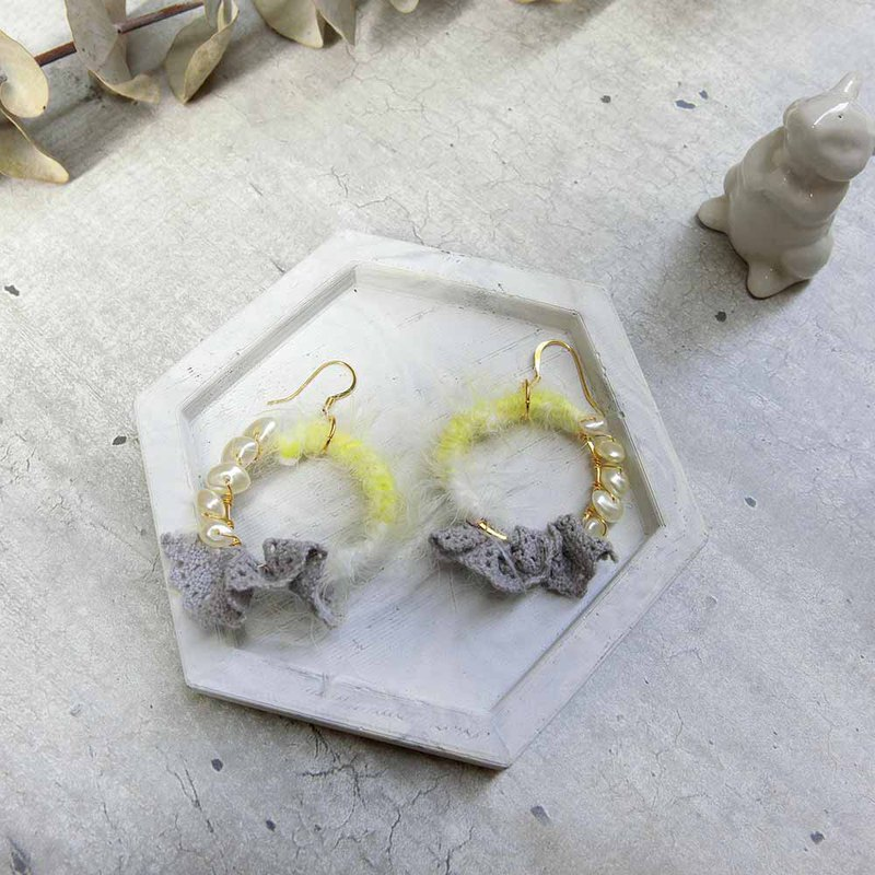 Floating impression hand made earrings