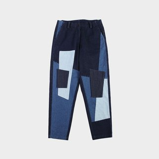 Patchwork denim nine points pants