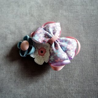 Handmade Purple ribbon bow baby/ kid hair clip/ hair band