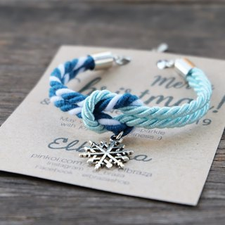 Icy blue / Mixed blue-green white  knot rope bracelet with snowflake