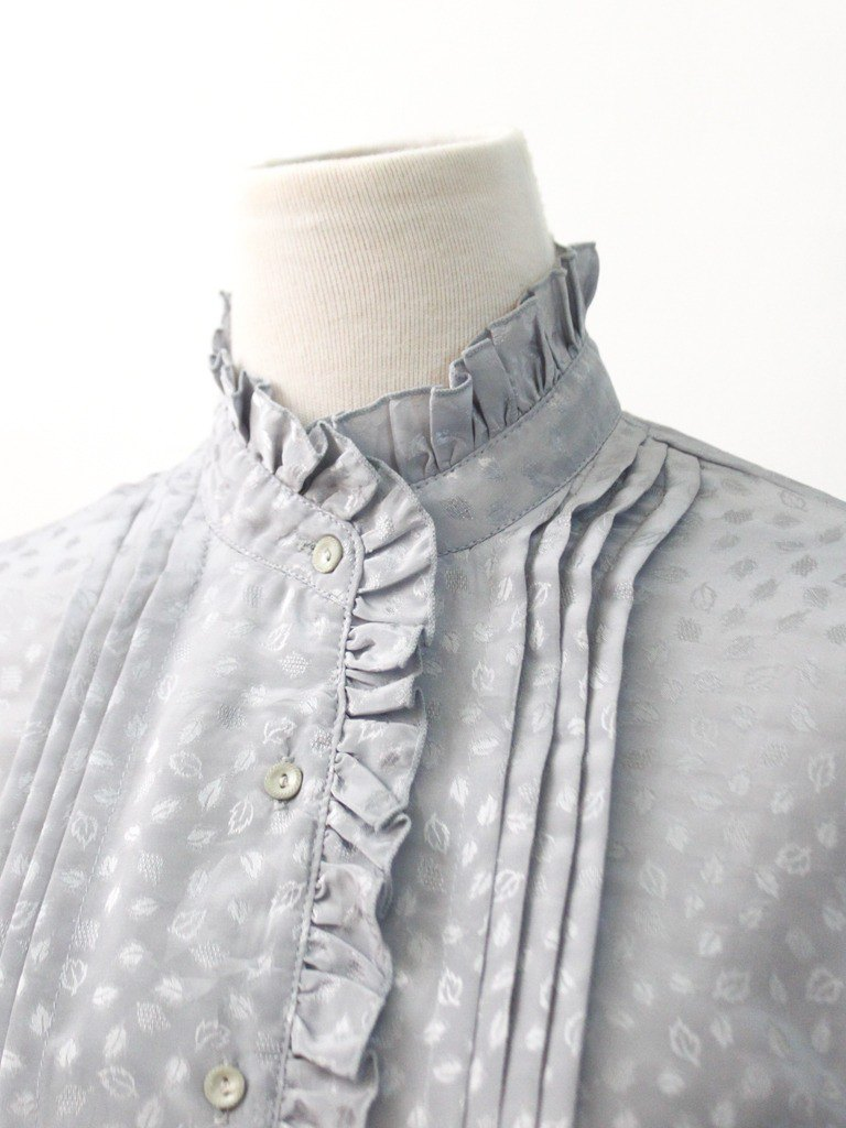 Vintage Japanese Elegant Collar Printing Light Grey Vintage Shirt Japanese Vintage Blouse