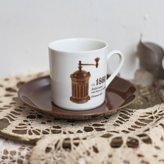 [Good day fetish] 1860/1890 Germany vintage double-sided grinder commemorative coffee cup set
