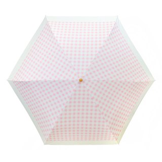 Pink Plaid Glue Blackout Folding Umbrella Japan Favorite 187g