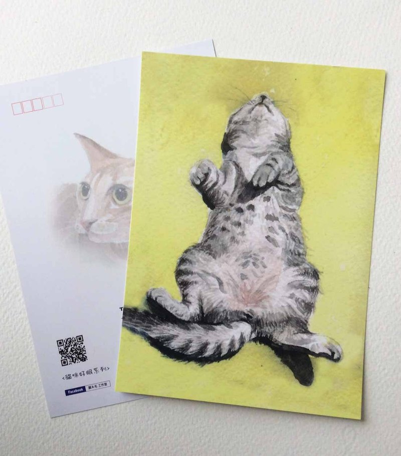 """Mummy Sleeping Series"" hand-painted postcard white cat black cat tiger cat cat short cat"