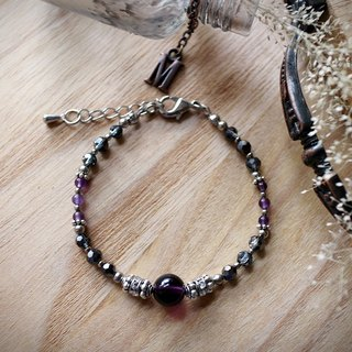 Muse Fashion Series NO.13 Mother's Day natural stone amethyst purple ornate silver bracelet