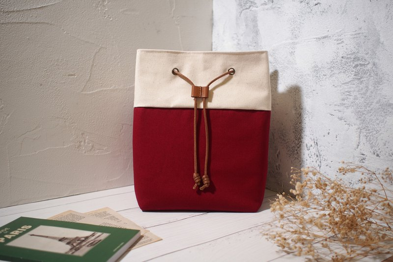 Traveler series cross-body bag / bucket bag / limited manual bag / Burgundy red / pre-order