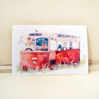 "【Watercolor illustration postcard】The first station . from ""A Day of traveler"" Series"