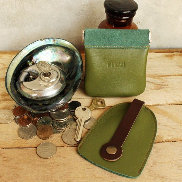 Set of Coin Bag & Key Case - Olive Green + Brown Strap / Cow Leather