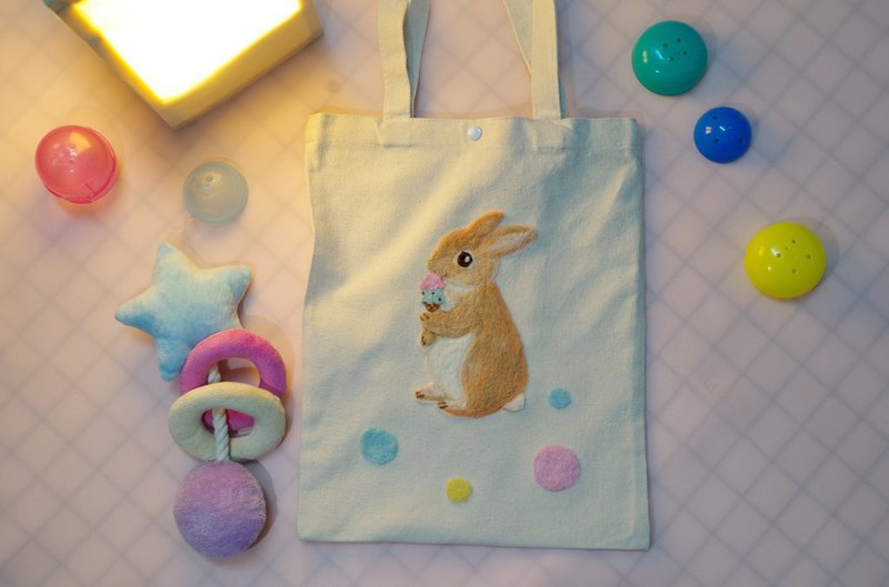 Bonnie dessert control rabbit wool felt embroidery canvas bag