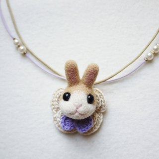 Petwoolfelt - Needle-felted milk tea rabbit 2-ways accessories(necklace+brooch)