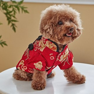 Pet clothes cheongsam classic Chinese style (red)