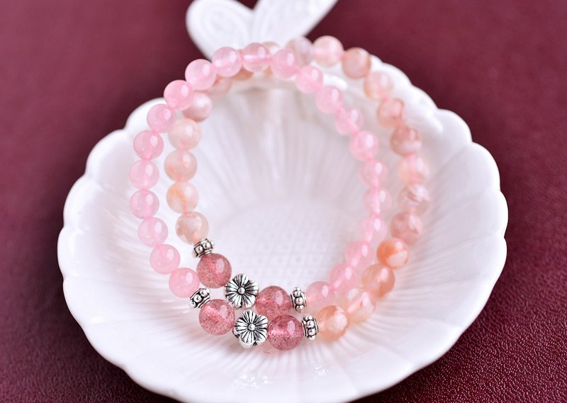 Mashima Pink + Cherry Agate + Strawberry Crystal Sterling Silver Flower Double Ring Bracelet