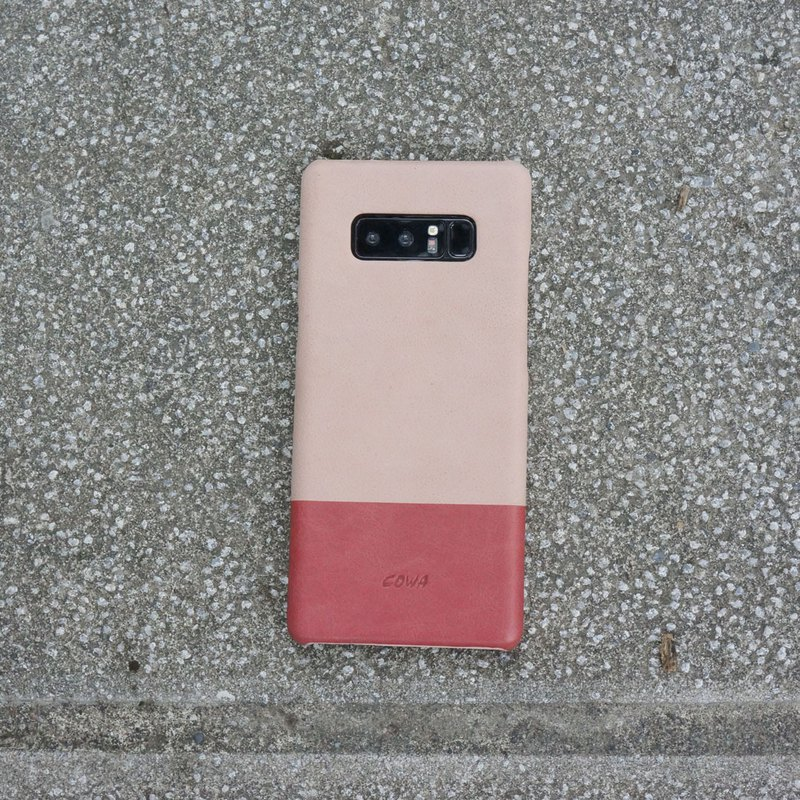 NOTE 8 Two-tone leather phone case - quartz powder / coral red