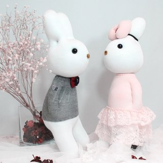 Music than the rabbit | hand-made sweet companion | Prince and Princess - gift, romantic lover, hand knitting, wedding decorations